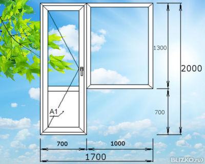 Дверь поворотная с глухим окном пластиковая, балконная, 1700.